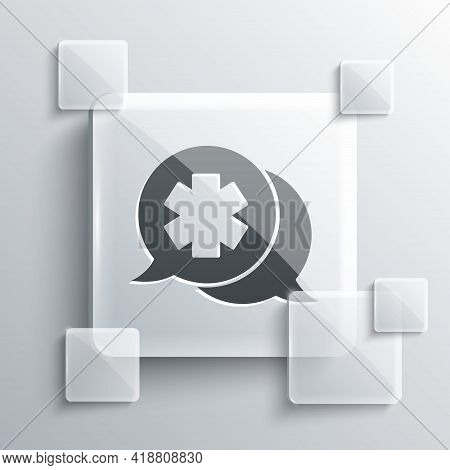 Grey Dialogue With The Doctor Icon Isolated On Grey Background. Doctor And Patient Dialog. Consultin