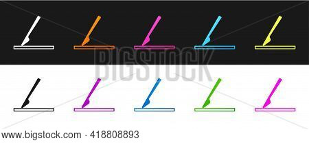 Set Medical Surgery Scalpel Tool Icon Isolated On Black And White Background. Medical Instrument. Ve