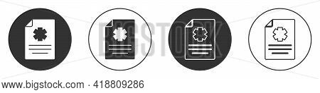 Black Medical Clipboard With Clinical Record Icon Isolated On White Background. Health Insurance For