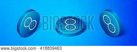 Isometric Sewing Button For Clothes Icon Isolated On Blue Background. Clothing Button. Blue Circle B