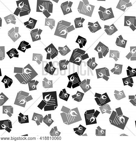 Black Exam Sheet And Pencil With Eraser Icon Isolated Seamless Pattern On White Background. Test Pap