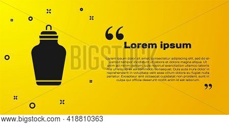Black Funeral Urn Icon Isolated On Yellow Background. Cremation And Burial Containers, Columbarium V