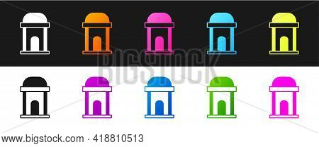 Set Old Crypt Icon Isolated On Black And White Background. Cemetery Symbol. Ossuary Or Crypt For Bur