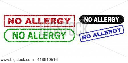 No Allergy Grunge Seals. Flat Vector Distress Seals With No Allergy Message Inside Different Rectang