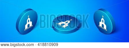 Isometric Church Building Icon Isolated On Blue Background. Christian Church. Religion Of Church. Bl