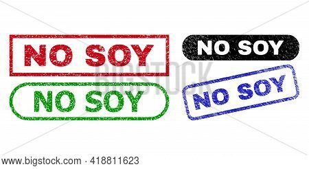 No Soy Grunge Seal Stamps. Flat Vector Grunge Seal Stamps With No Soy Text Inside Different Rectangl