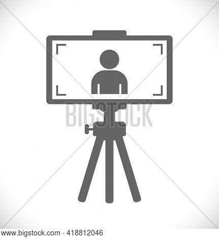 vlog with smartphone camera vlogging person vector icon