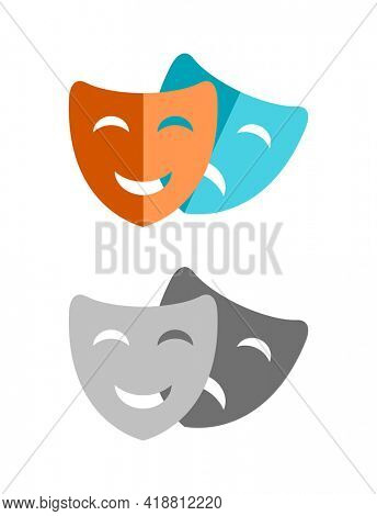 theater comedy drama face mask icon
