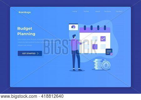 Flat Design Of Budget Planning Concept. Illustration For Websites, Landing Pages, Mobile Application