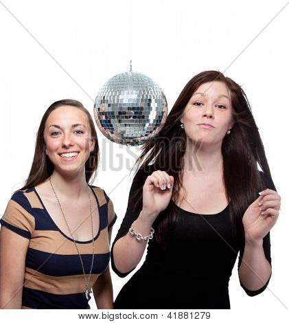 Two Happy Friends With Disco Ball Over White Background