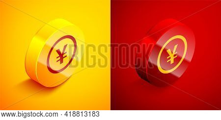 Isometric Chinese Yuan Currency Symbol Icon Isolated On Orange And Red Background. Coin Money. Banki