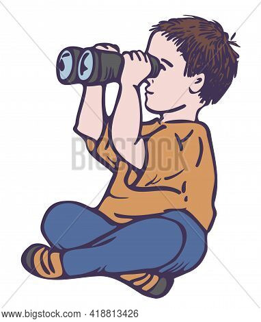 Vector Colorful Illustration Of Sitting Boy With Binoculars. Little Boy Is Looking Through Binocular