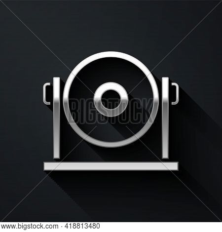 Silver Gong Musical Percussion Instrument Circular Metal Disc Icon Isolated On Black Background. Lon