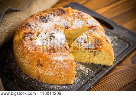 Cooked Sweet Biscuit With Dried Apricots And Nuts Inside