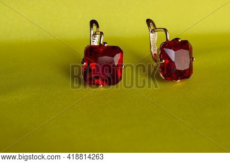 Earrings Made Of Gold With Diamonds, Cubic Zirconia, Emeralds, And Precious Stones