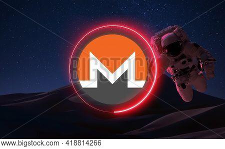 Monero Xmr Cryptocurrency. Monero Coin Growth Chart On The Exchange, Chart