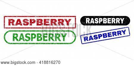 Raspberry Grunge Seal Stamps. Flat Vector Grunge Seal Stamps With Raspberry Tag Inside Different Rec