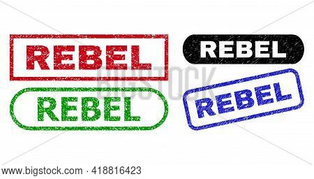 Rebel Grunge Stamps. Flat Vector Grunge Seals With Rebel Caption Inside Different Rectangle And Roun