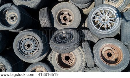 Nampa, Idaho - April 18, 2021: Used Tires And Rims Of Various Makess That Have Already Been Sent To