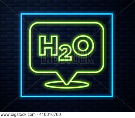 Glowing Neon Line Chemical Formula For Water Drops H2o Shaped Icon Isolated On Brick Wall Background