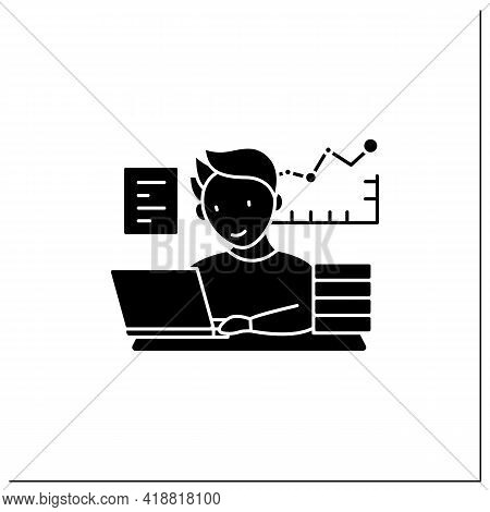 Workaholic Glyph Icon.prevalence Workaholism Statistics. People Number Dependent On Work. Man At Lap