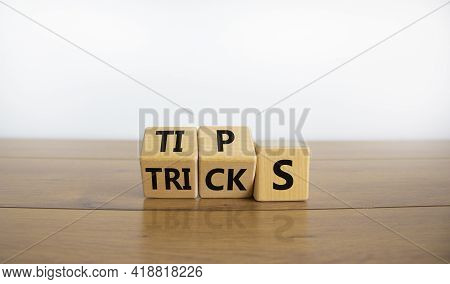 Tips And Tricks Symbol. Tured Cubes And Changed The Word 'tricks' To 'tips'. Beautiful Wooden Table,