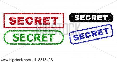 Secret Grunge Seal Stamps. Flat Vector Distress Seal Stamps With Secret Slogan Inside Different Rect