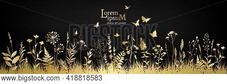 Floral Field With Golden Flowers And Herbs On Black Background.