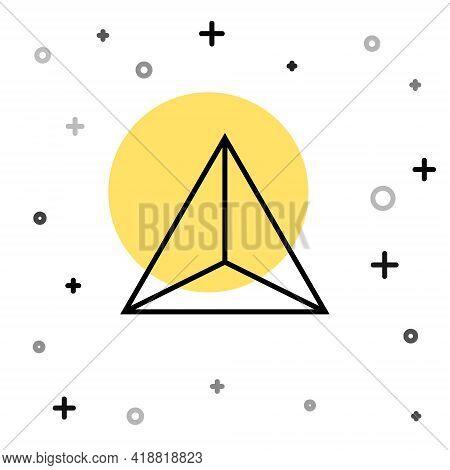 Black Line Geometric Figure Tetrahedron Icon Isolated On White Background. Abstract Shape. Geometric