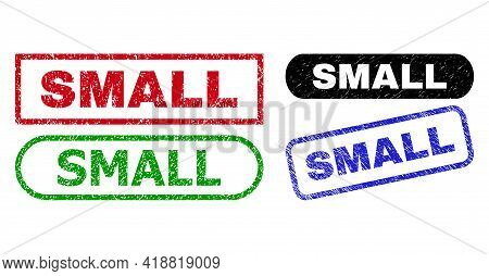 Small Grunge Watermarks. Flat Vector Distress Watermarks With Small Message Inside Different Rectang