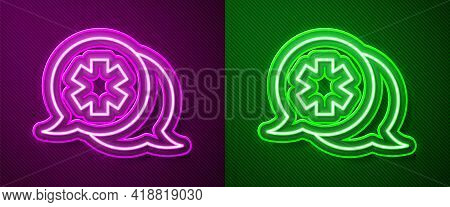 Glowing Neon Line Dialogue With The Doctor Icon Isolated On Purple And Green Background. Doctor And