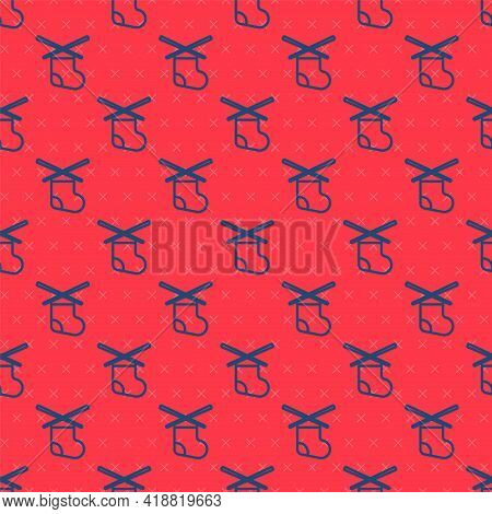 Blue Line Knitting Needles Icon Isolated Seamless Pattern On Red Background. Label For Hand Made, Kn