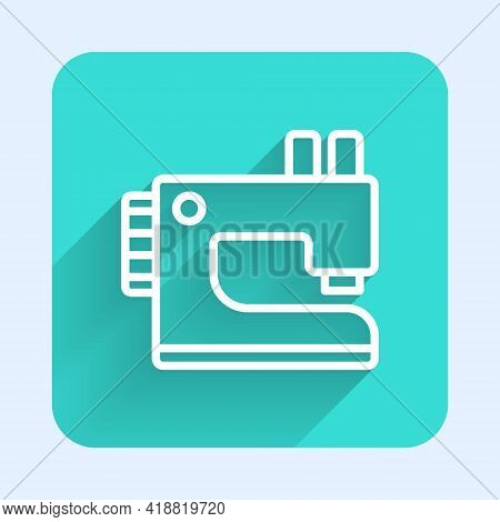 White Line Sewing Machine Icon Isolated With Long Shadow. Green Square Button. Vector