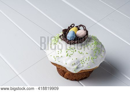 Easter Cake On White Background Traditional Orthodox Festive Bread.