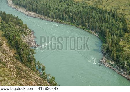 Beautiful Aerial View From Above To Wide Mountain River. Scenic View From Top To Big Turquoise River