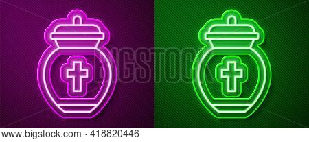 Glowing Neon Line Funeral Urn Icon Isolated On Purple And Green Background. Cremation And Burial Con