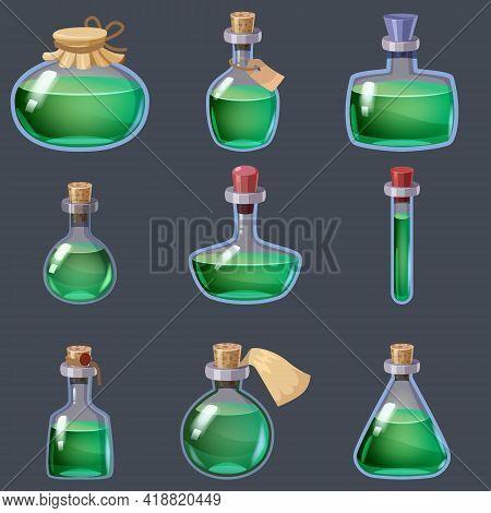 Set Of Magic Bottles Liquid Potion Fantasy Elixir. Game Icon Gui For App Games User Interface. Vecto