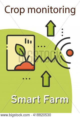 Crop Monitoring Brochure.monitoring Different Fields And Crops Template. Flyer, Magazine, Poster, Bo