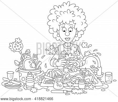 Everyday Homework, A Cute Young Woman Washing Dishes, Pans, Forks And Spoons With Liquid Soap In Her