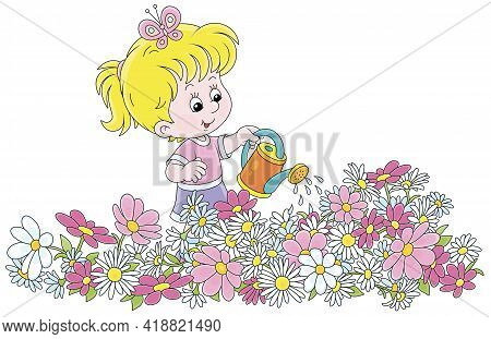 Happy Little Girl Watering Colorful Garden Flowers On A Pretty Small Flowerbed On A Summer Day, Vect