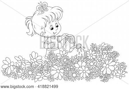Happy Little Girl Watering Garden Flowers On A Small Flowerbed On A Summer Day, Black And White Vect