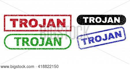 Trojan Grunge Watermarks. Flat Vector Scratched Watermarks With Trojan Text Inside Different Rectang