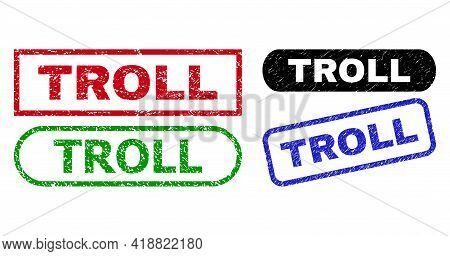Troll Grunge Watermarks. Flat Vector Distress Watermarks With Troll Title Inside Different Rectangle