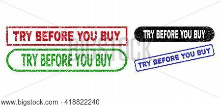 Try Before You Buy Grunge Seal Stamps. Flat Vector Textured Seal Stamps With Try Before You Buy Mess