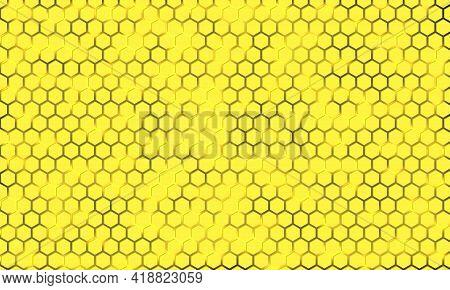 Yellow Hexagonal Texture On A Luminous Vector Background. Yellow Honeycomb Texture Grid. Bright Hexa