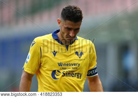 Milano, Italy. 25th April 2021 . Davide Faraoni Of Hellas Verona Fc  During The Serie A Match Betwee