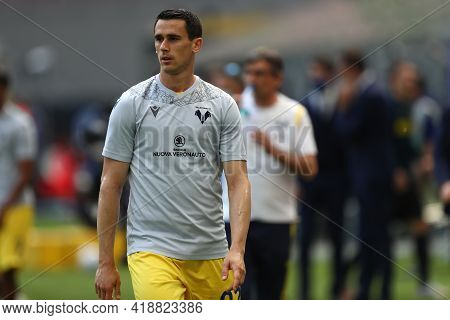 Milano, Italy. 25th April 2021 . Kevin Lasagna Of Hellas Verona Fc  During The Serie A Match Between