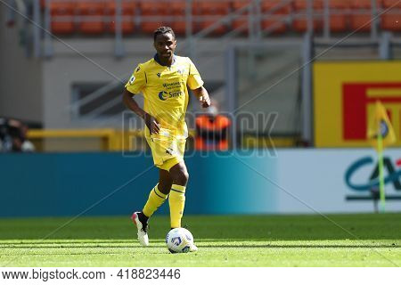 Milano, Italy. 25th April 2021 . Adrien Tameze Of Hellas Verona Fc  During The Serie A Match Between