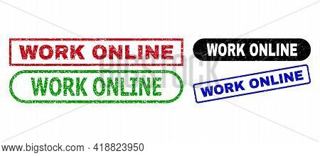 Work Online Grunge Stamps. Flat Vector Grunge Stamps With Work Online Message Inside Different Recta