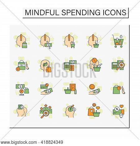 Mindful Spendings Color Icons Set. Conscious Buying, Conscious Consumer, Buy Less. Shopaholism, Sale
